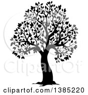 Clipart Of A Black Silhouetted Tree With Leaves Royalty Free Vector Illustration