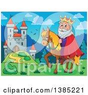 Clipart Of A Happy Caucasian Horseback King Near A Castle Royalty Free Vector Illustration