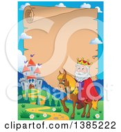 Clipart Of A Happy Caucasian Horseback King Near A Castle Over On An Aged Parchment Scroll Page Royalty Free Vector Illustration