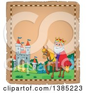 Clipart Of A Happy Caucasian Horseback King Near A Castle On An Aged Parchment Page Royalty Free Vector Illustration