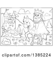Clipart Of A Black And White Lineart Happy Caucasian Horseback King Near A Castle Royalty Free Vector Illustration by visekart
