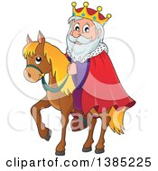 Clipart Of A Happy Caucasian Horseback King Royalty Free Vector Illustration