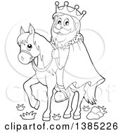 Clipart Of A Black And White Lineart Happy Caucasian Horseback King Royalty Free Vector Illustration