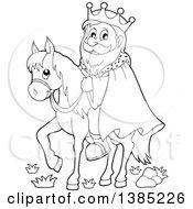 Black And White Lineart Happy Caucasian Horseback King