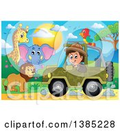 Clipart Of A Happy Safari Man Driving A Jeep Around Animals Royalty Free Vector Illustration by visekart