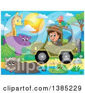Happy Safari Man Driving A Jeep Around Animals