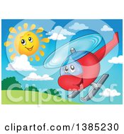 Clipart Of A Happy Cartoon Helicopter Character Flying On A Sunny Day Royalty Free Vector Illustration