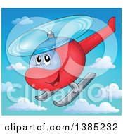 Clipart Of A Happy Cartoon Helicopter Character Flying In The Sky Royalty Free Vector Illustration