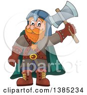 Cartoon Happy Male Dwarf Warrior Holding Up An Axe