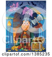 Clipart Of A Cartoon Happy Male Dwarf Warrior Holding Up An Axe Near Treasure In A Corridor Royalty Free Vector Illustration by visekart