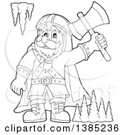 Clipart Of A Black And White Lineart Cartoon Happy Male Dwarf Warrior Holding Up An Axe In A Cave Royalty Free Vector Illustration by visekart