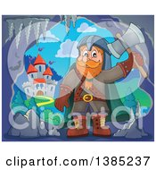 Clipart Of A Cartoon Happy Male Dwarf Warrior Holding Up An Axe In A Cave Near A Castle Royalty Free Vector Illustration by visekart