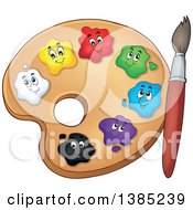 Poster, Art Print Of Cartoon Paint Palette With Colorful Character Spots And A Brush