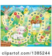 Clipart Of A Lamb Chicks Chicken Frog And Bunny Rabbit On An Easter Game Royalty Free Vector Illustration by visekart
