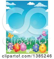 Clipart Of A Background Of Patterned Easter Eggs Butterflies Grass And Flowers Against A Blue Sky Royalty Free Vector Illustration by visekart