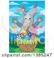 Clipart Of A Gray Bunny Rabbit Welcoming Behind An Easter Basket With Eggs Royalty Free Vector Illustration