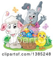Cute Lamb Chick And Gray Bunny Rabbit Welcoming Behind An Easter Basket With Eggs