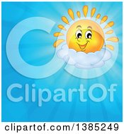 Clipart Of A Happy Shining Sun Character Resting On A Cloud In A Blue Sky Royalty Free Vector Illustration