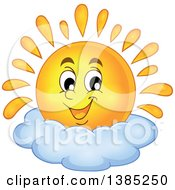 Clipart Of A Happy Sun Character Resting On A Cloud Royalty Free Vector Illustration