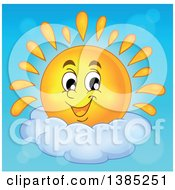 Happy Sun Character Resting On A Cloud In A Blue Sky