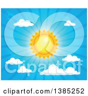 Clipart Of A Shining Sun In The Sky Royalty Free Vector Illustration