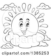 Clipart Of A Black And White Lineart Happy Sun Character Resting On A Cloud Royalty Free Vector Illustration