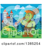 Clipart Of A Cartoon Orc Holding A Club Near A Castle Royalty Free Vector Illustration by visekart