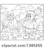 Clipart Of A Black And White Lineart Cartoon Orc Holding A Club Near A Castle Royalty Free Vector Illustration by visekart
