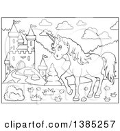 Clipart Of A Black And White Lineart Unicorn Near A Castle Royalty Free Vector Illustration by visekart