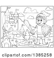 Clipart Of A Black And White Lineart Knight Near A Castle Royalty Free Vector Illustration