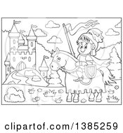 Clipart Of A Black And White Lineart Horseback Knight Near A Castle Royalty Free Vector Illustration