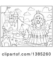 Clipart Of A Black And White Lineart Princess By A Castle Royalty Free Vector Illustration by visekart