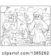 Clipart Of A Black And White Lineart Druid Wizard By A Castle Royalty Free Vector Illustration by visekart