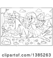 Clipart Of A Black And White Lineart Fairy Near A Castle Royalty Free Vector Illustration