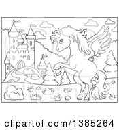 Clipart Of A Black And White Lineart Pegasus Horse Near A Castle Royalty Free Vector Illustration by visekart