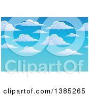 Clipart Of A Puffy White Cloud And Blue Sky Background With Text Space Royalty Free Vector Illustration