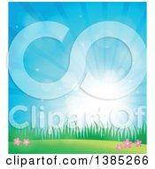 Clipart Of A Spring Background Of Flowers Grass And Sunshine In A Blue Sky Royalty Free Vector Illustration