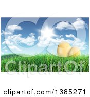 Clipart Of 3d Gold Easter Eggs In Grass Under A Sunny Spring Sky Royalty Free Illustration
