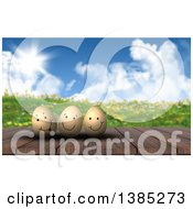 Clipart Of A 3d Wood Table With Happy Easter Eggs Against A Hilly Spring Landscape Royalty Free Illustration
