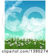 Clipart Of A 3d Grassy Hill With Daisies And Grass Against Blue Sky With Clouds Royalty Free Illustration