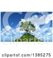 Clipart Of A 3d Tree On A Hill Top Against A Blue Sky With Clouds Royalty Free Illustration by KJ Pargeter