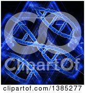 Clipart Of A 3d Background With Blue Dna Strands And Lights Royalty Free Illustration