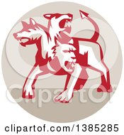 Clipart Of A Retro Three Headed Cerberus Devil Dog Hellhound Monster In A Tan Circle Royalty Free Vector Illustration