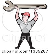 Clipart Of A Retro Cartoon White Male Mechanic Holding Up A Giant Spanner Wrench Royalty Free Vector Illustration