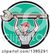 Clipart Of A Retro Cartoon White Male Mechanic Holding Up A Giant Spanner Wrench In A Black White And Turquoise Circle Royalty Free Vector Illustration