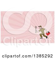 Poster, Art Print Of Retro Cartoon White Male Mechanic Holding A Tool Box And Wrench And Running And Pink Rays Background Or Business Card Design