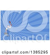 Poster, Art Print Of Retro Cartoon White Male Plumber Holding Up A Monkey Wrench And Tool Box And Blue Rays Background Or Business Card Design