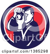Clipart Of A Retro Male Photographer Taking Pictures In A Blue White And Red Circle Royalty Free Vector Illustration