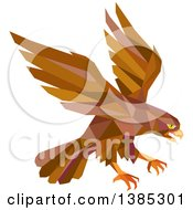 Clipart Of A Retro Geometric Brown Low Poly Peregrine Falcon Swooping For Prey Royalty Free Vector Illustration