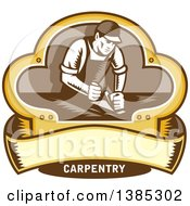 Poster, Art Print Of Retro Woodcut Carpenter Wearing A Hat And Overalls Working With A Smooth Plane On A Wood Surface Inside A Clover Leaf Design With A Blank Banner And Text